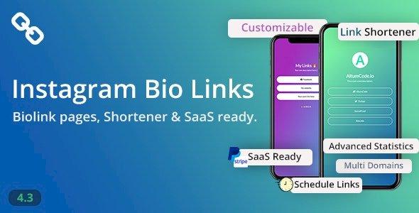 BioLinks v.4.6.1 Nulled – Instagram Bio Links & URL Shortener ( SaaS )