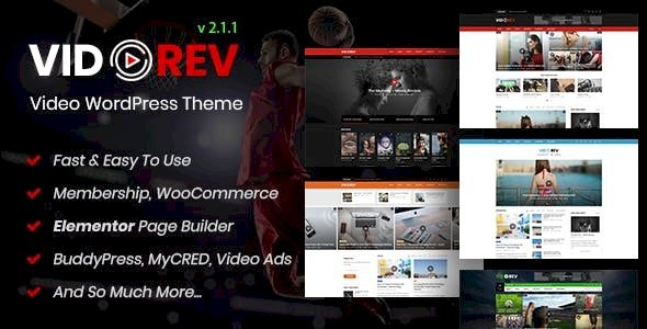 VidoRev – Video WordPress Theme v2.9.9.9.8.4 Nulled